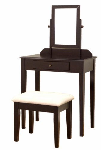 Frenchi Furniture Wood 3 Pc Vanity Set in Espresso Finish (Espresso Desk Small compare prices)