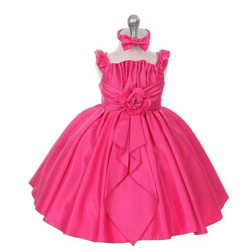 Rain Kids Baby Girls 12M Fuchsia Satin Jewel Ruffle Pageant Dress front-703686