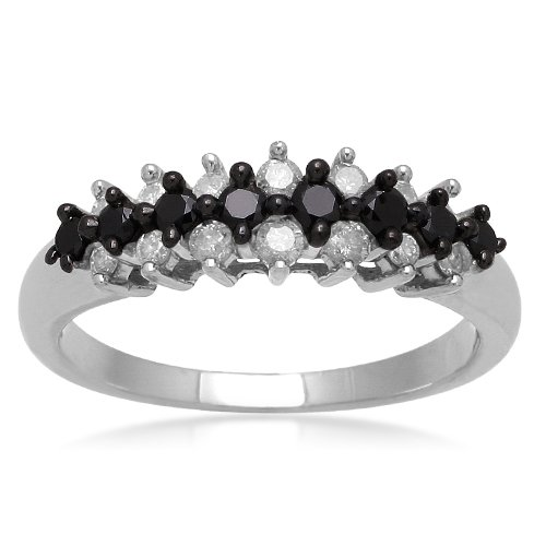 Sterling Silver Black and White Diamond Wedding Anniversary Ring (1/2 cttw, I-J Color, I2-I3 Clarity), Size 5