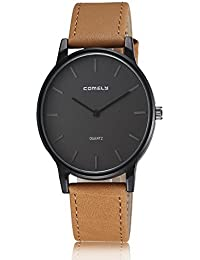 ISweven Leather Belt Men's Sports Students Waterproof Quartz Watch Analogue Brown Unisex Wrist Watch W1089c