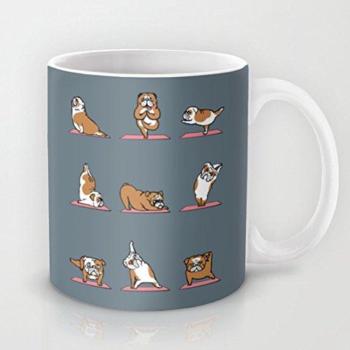 Pioenfly English Bulldog Yoga Ceramic Coffee Mugs, 11 Oz (Bulldog Mug compare prices)