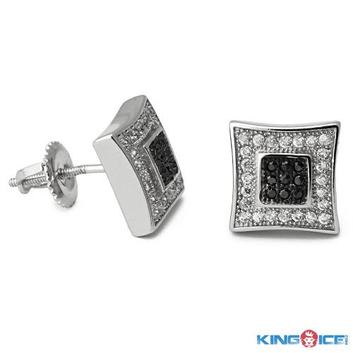 King Ice Silver and Black Ice Dot Earrings