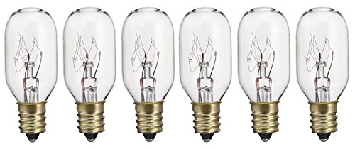 Pack of 6 15T7 15W Incandescent Salt Lamp & Appliance T7 Bulb with Candelabra Base, Clear Light ...