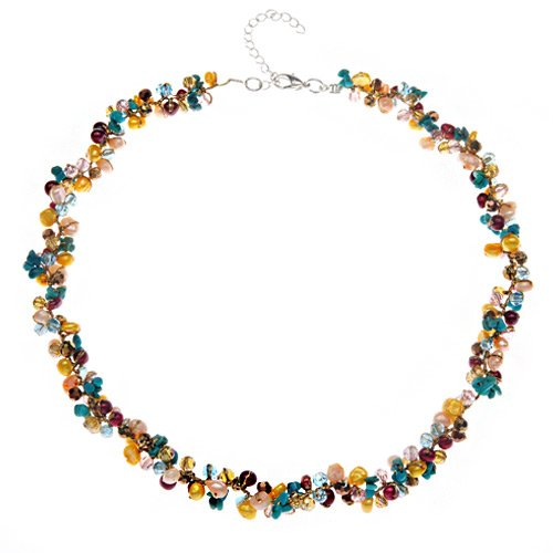 Chuvora Genuine Multi-Colored Cultured Fresh Water Pearl with Crystal Silk Thread Cluster Necklace 16''- 18'' Princess Length