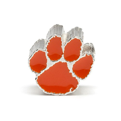 Clemson University Tiger Paw Bead Charm - ORANGE - Fits Pandora & Others