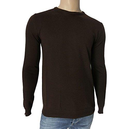 Girocollo uomo +39 Masq 0930 - Maglia 100% lana vergine M90001 made in italy, marrone (S)
