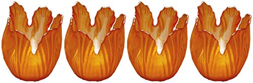 Biedermann & Sons Pearlized Amber Glass Floral Votive Holder, Box Of 4
