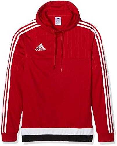 Adidas Tiro15Felpa con cappuccio, Uomo, Unterjacke strick Etc Tiro15 hood top, rosso/bianco/nero, 3XL