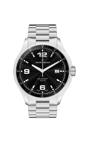 Claude Bernard Men's 70167 3 NIN Aquarider Black Dial Stainless Steel Date Watch