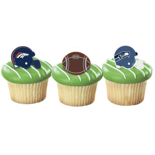 30 Denver Broncos/ Seattle Seahawks Favor Party Rings - Super Bowl Cupcakes at Amazon.com