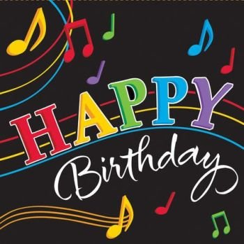 "Dancing Music Notes 6.5"" Lunch Napkin 3-Ply (16) ""Happy Birthday"" Party Supplies"