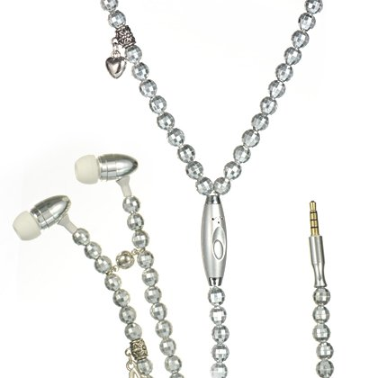 Fashion Sliver Pearl Necklace 3.5Mm Handsfree Headset /Mic For The Samsung Galaxy S5 / Galaxy S5,Htc One M8