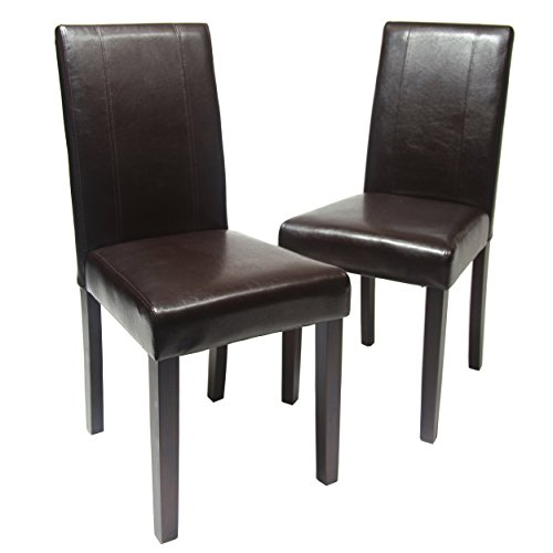 Leather chairs solid wood leatherette padded dinning chair for Wood and leather dining chair