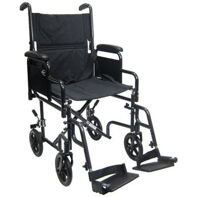 Lightweight Transport Wheelchair with Detachable Desk Arms Seat Size: 17