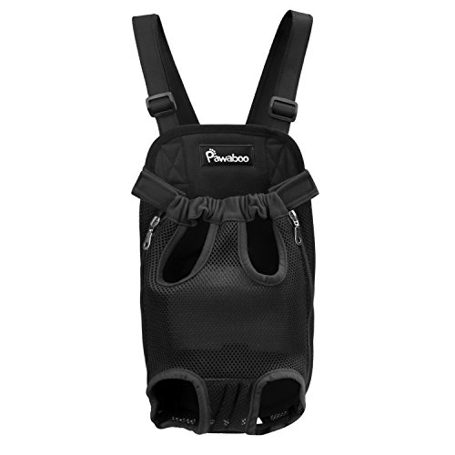 Pawaboo Pet Backpack, Adjustable Pet Front Carrier Cat Dog Carrier Backpack Travel Bag, Legs Out, Easy-Fit for Traveling Hiking Camping, Medium Size, BLACK