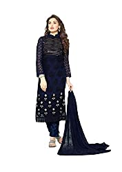 A R Fashion Hub Women's Georgette Unstitched Dress Material(2255_Blue_FreeSize)