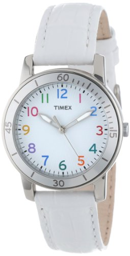 Timex Women'S T2P049Kw Ameritus Sport White Dial Multi-Colored Numbers, White Croco Patterned Leather Strap Watch front-688667