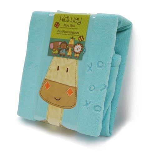 Kidiway Micro Mink Blanket, Blue Giraffe