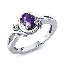 buy 0.82 Ct Oval Checkerboard Purple Amethyst White Diamond 14K White Gold Ring