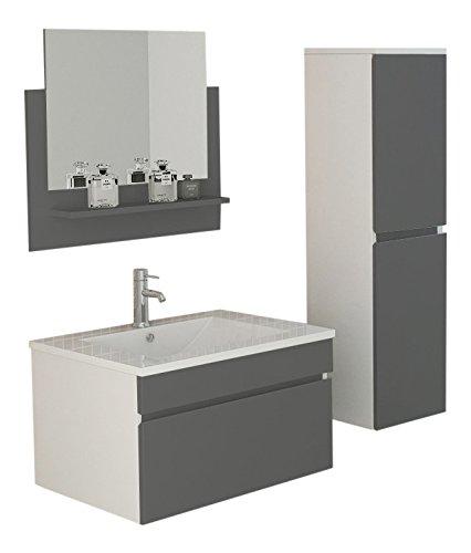 Set da bagno Gastein in grigio lucido lavabo armadietto a specchio con illuminazione a LED e lato congelatore attrezzature mobili da bagno mobili da bagno