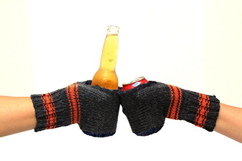 Boozy Kuzy Beer Gloves - Knit Beer Mitt (Twin Pack) Cold Drink & Beer Cozy Glove: Blue/Orange