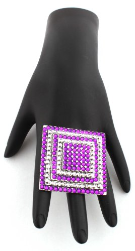 Poparazzi Silver with Purple Iced Out Square Layers Stretch Finger Ring One Size Fits All Basketball Wives