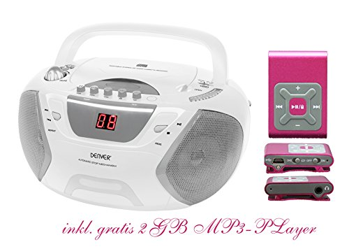 Kinder Mädchen Stereoanlage CD-Player Radio Kassettendeck Boombox DENVER TCP-38 Weiß inkl. 2GB MP3-Player Pink