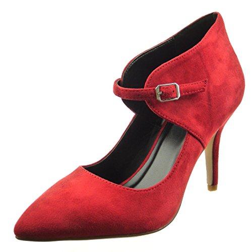 Sopily - Scarpe da Moda scarpe decollete alla caviglia donna Tacco Stiletto tacco alto 9 CM - Rosso FRF-8-YX-10 T 39