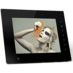 """NEW NIX 8"""" Hu-Motion Digital Picture Frame, Deluxe frame that turns ON/OFF automatically when it senses you nearby. 2GB memory, Video, Music, Photos & Rechargeable Battery: Camera & Photo"""