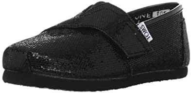 Toms Youth Classic Glitter Shoes, Black, Size 5 M US Toddler, EU 20