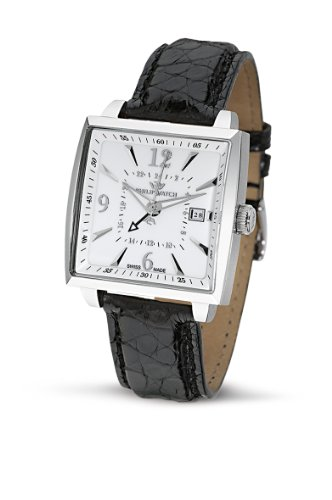 Philip Watch Avalon with White Dial and Black Crocodile Strap