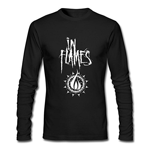 Michaner Walosde Men's In Flames Band Logo Long Sleeve T Shirt Tee Black XXX-Large