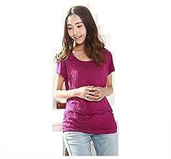 Fashionate Maternity - Comfortable Women's Maternity Top Purple Cotton Maternity Dress Large