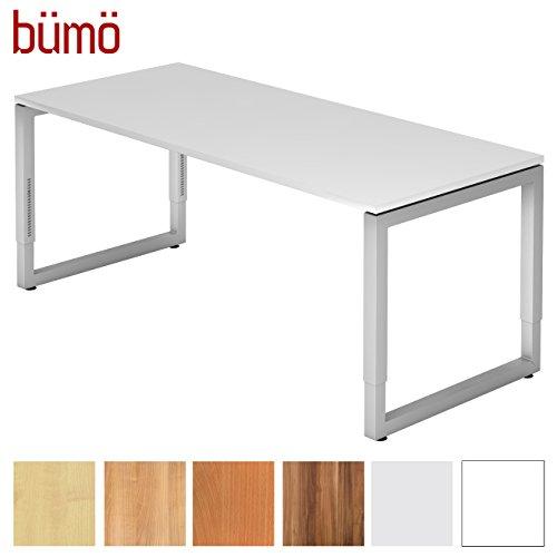 Bümö® massiver Schreibtisch höhenverstellbar | Bürotisch extrem massiv & stabil | Büroschreibtisch Tisch für Büro in 4 Größen & 6 Dekoren (Weiß, 180 x 80 cm)