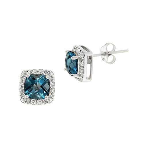 Sterling Silver Square London Blue Topaz with Cubic Zirconia Accent Post Earrings