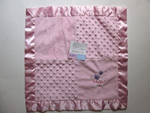 Just Born Security Blanket Baby Girl Pink Minky Lovey Satin Butterfly
