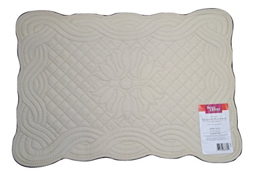 Better Homes Gardens Woven Quilted Placemats Set Of 6 Creamy Parchment Cream Linens Bedding