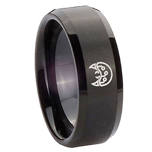 10Mm Tungsten Carbide Metroid Matte Black Flat Top Engraved Ring Size 10