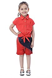 Girls Red Tie Knot Top with Gold Buttons