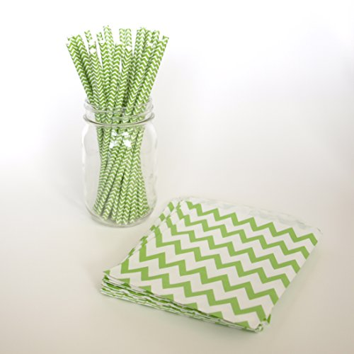 Chevron Gift Bags, Milk Straws, Green Treat Bags, Party Straws Striped, 2 Combo Party Supply Kit - Green Chevron front-850085