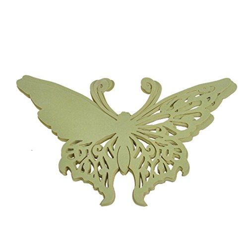 H&D Elegant Butterfly Laser Cut Place Cards Wine Glass Cards Wedding Christmas Baby Shower Party Decorations (Emerald, 60Pcs/ 5Bags) front-417600
