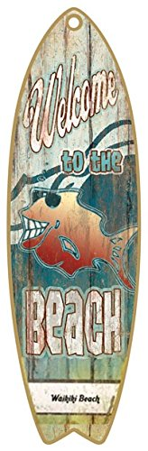 """(SJT41315) Welcome to the Beach 5"""" x 16"""" Surfboard Wood Plaque Sign"""