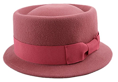 Fascigirl Fedora Hat Winter Vintage Hat Bands Soft Woolen Hat for Women (Pink Pork Pie Hat compare prices)
