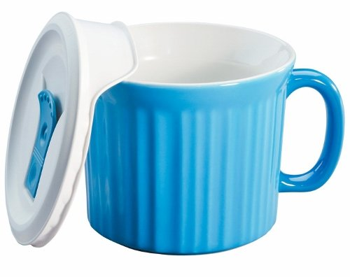 Corningware French White 20-Ounce Mug with Vented Plastic Cover, Pool (Corningware Mug With Vented Cover compare prices)