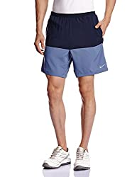 Nike Men's Polyester Shorts (888410864807_642808-452 _Small_Obsidian and Ocean Blue)