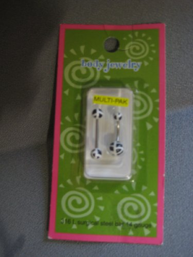 316 L surgical steel bar 14 gauge 2 piece Black and white balls Body Jewelry