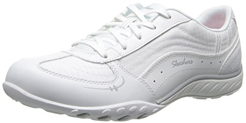 Skechers Sport Women's Just Relax Fashion Sneaker, White Leather/Mesh/Silver Trim, 8 M US