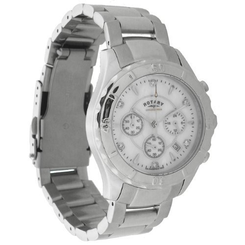 Rotary Ladies White Mother of Pearl Chronospeed Watch Date Func. Swarovski Stones RRP £199 LB003443/41