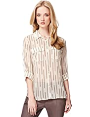 Autograph Dash Striped Chiffon Blouse