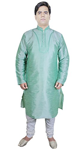 Mode-Inde-masculine-ethnique-Kurta-Pajama-Pour-Indian-Wedding-Dress-Green-Light